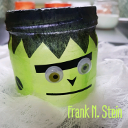 """For Frank N. Stein: Cover jar with green tissue. Cut a long strip of black tissue, then cut triangular notches along one of the long edges. Apply black strip (notched edge down) around top of jar, extending 1/2"""" above edge. Apply a thin layer of podge over the tissue, smoothing down and folding excess around top to the inside rim of the jar. Decorate with paper/sticker paper and googly eyes."""